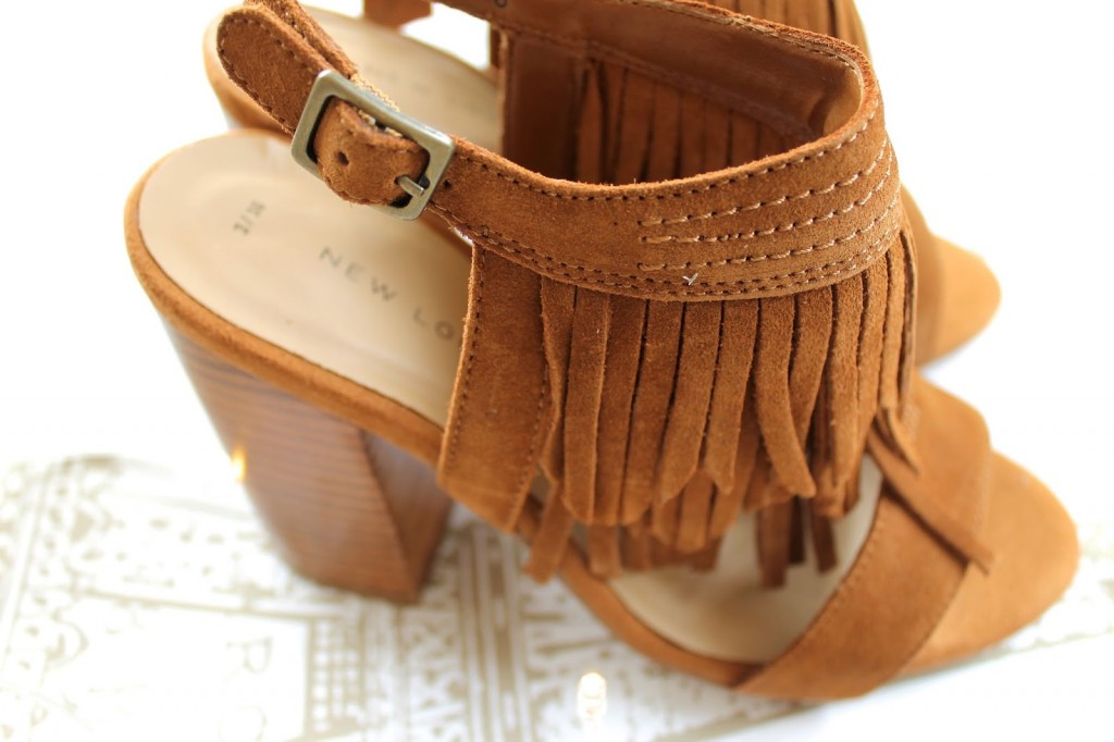 new look fringed tan sandles