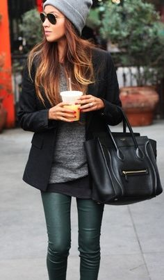green-leather-pants